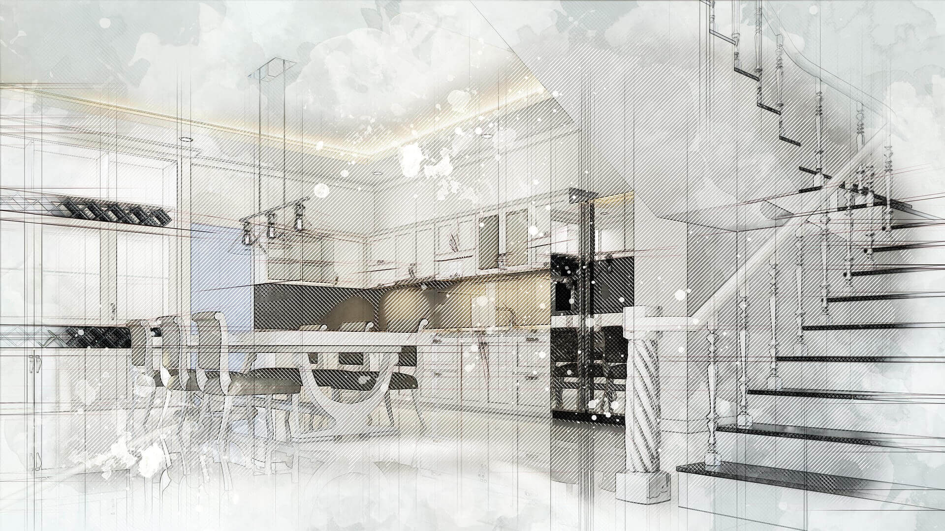 Sketch design of a modern kitchen and staircase